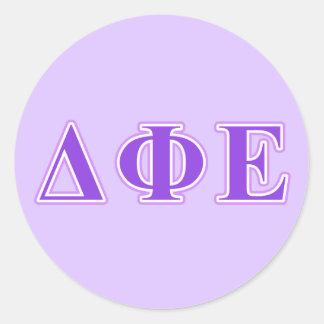 Delta Phi Epsilon Purple and Lavender Letters Round Sticker