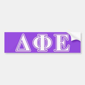 Delta Phi Epsilon White and Purple Letters Bumper Sticker