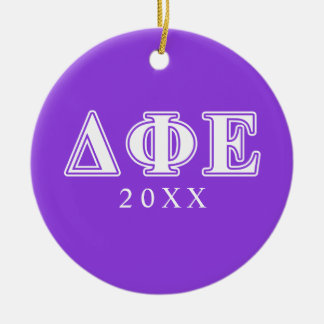 Delta Phi Epsilon White and Purple Letters Christmas Ornament