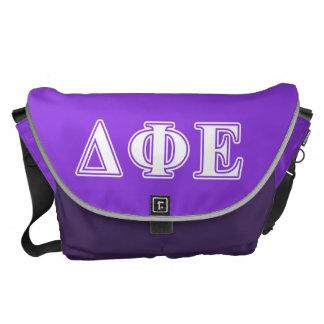 Delta Phi Epsilon White and Purple Letters Messenger Bag