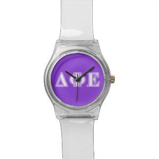 Delta Phi Epsilon White and Purple Letters Watch