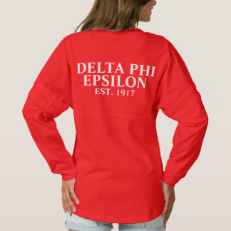 Delta Phi Epsilon White and Yellow Letters Spirit Jersey