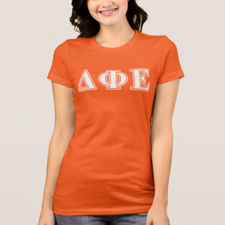 Delta Phi Epsilon White and Yellow Letters T-Shirt