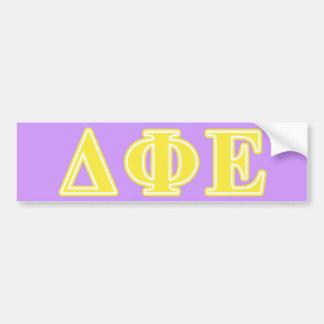 Delta Phi Epsilon Yellow Letters Bumper Sticker