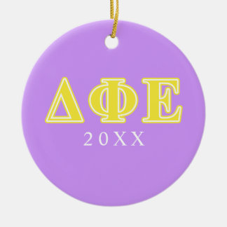 Delta Phi Epsilon Yellow Letters Christmas Ornament