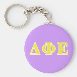 Delta Phi Epsilon Yellow Letters Key Ring