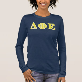 Delta Phi Epsilon Yellow Letters Long Sleeve T-Shirt