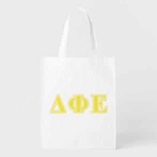 Delta Phi Epsilon Yellow Letters Reusable Grocery Bag