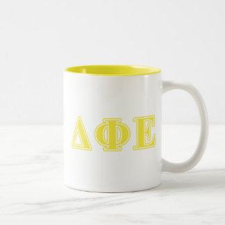 Delta Phi Epsilon Yellow Letters Two-Tone Coffee Mug