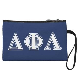 Delta Phi Lambda White Letters Wristlet Purses