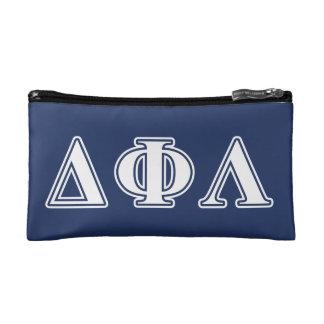 Delta Phi Lambda White Letters Cosmetics Bags