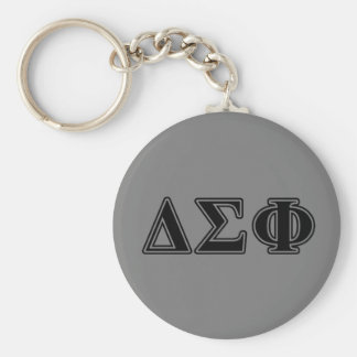 Delta Sigma Phi Black Letters Basic Round Button Key Ring