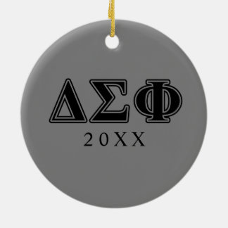 Delta Sigma Phi Black Letters Christmas Ornament