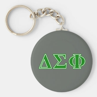 Delta Sigma Phi Green Letters Basic Round Button Key Ring