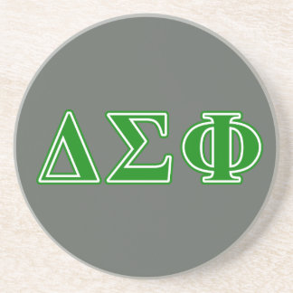 Delta Sigma Phi Green Letters Beverage Coasters