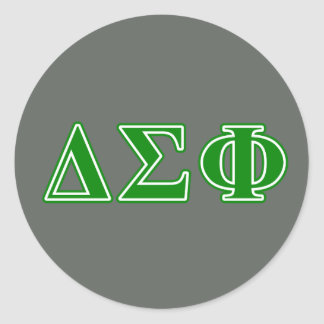 Delta Sigma Phi Green Letters Round Sticker