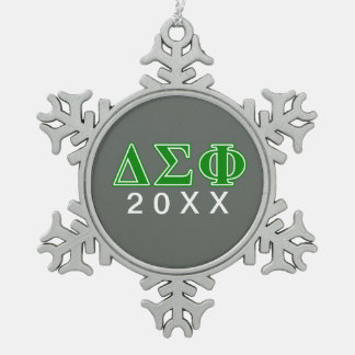 Delta Sigma Phi Green Letters Snowflake Pewter Christmas Ornament