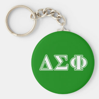 Delta Sigma Phi White Letters Basic Round Button Key Ring