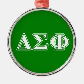 Delta Sigma Phi White Letters Christmas Ornament