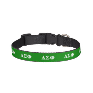 Delta Sigma Phi White Letters Pet Collar
