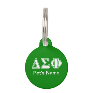 Delta Sigma Phi White Letters Pet ID Tag