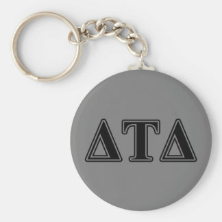 Delta Tau Delta Black Letters Basic Round Button Key Ring