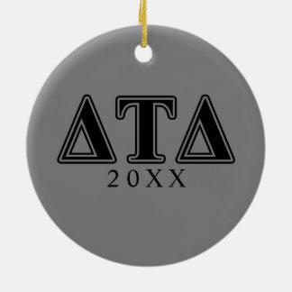 Delta Tau Delta Black Letters Christmas Ornament