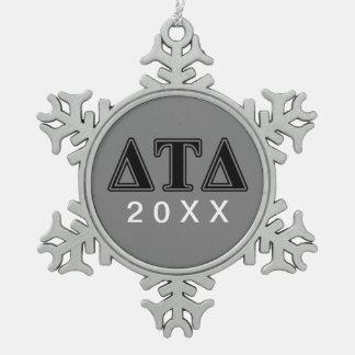 Delta Tau Delta Black Letters Snowflake Pewter Christmas Ornament