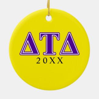 Delta Tau Delta Purple Letters Christmas Ornament