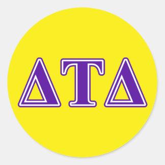 Delta Tau Delta Purple Letters Classic Round Sticker