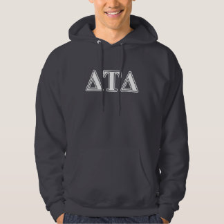 Delta Tau Delta White and Purple Letters Hoodie