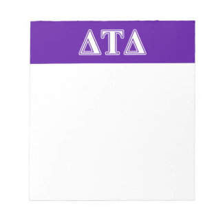 Delta Tau Delta White and Purple Letters Notepad