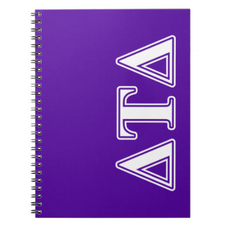 Delta Tau Delta White and Purple Letters Spiral Notebook