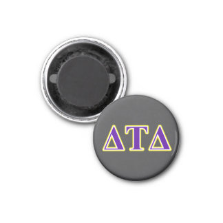 Delta Tau Delta Yellow and Purple Letters 3 Cm Round Magnet
