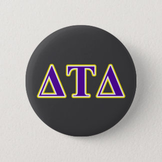 Delta Tau Delta Yellow and Purple Letters 6 Cm Round Badge
