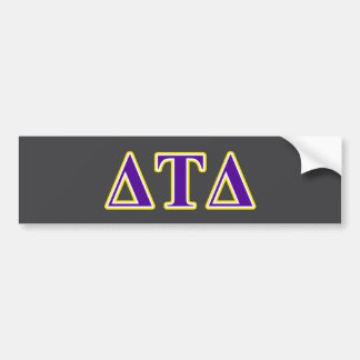 Delta Tau Delta Yellow and Purple Letters Bumper Sticker