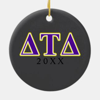 Delta Tau Delta Yellow and Purple Letters Christmas Ornament