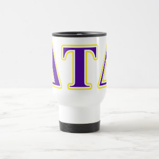 Delta Tau Delta Yellow and Purple Letters Travel Mug
