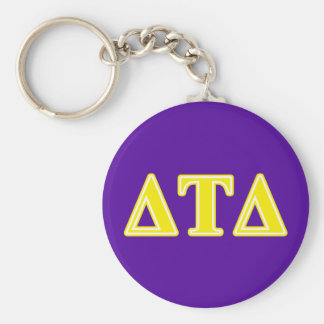 Delta Tau Delta Yellow Letters Basic Round Button Key Ring