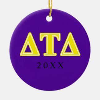 Delta Tau Delta Yellow Letters Christmas Ornament