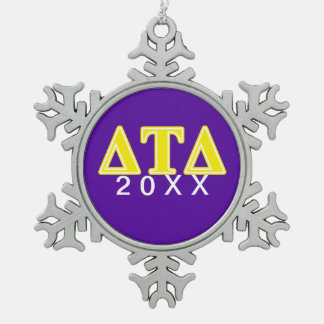 Delta Tau Delta Yellow Letters Snowflake Pewter Christmas Ornament