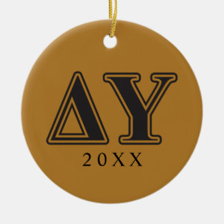 Delta Upsilon Black Letters Christmas Ornament