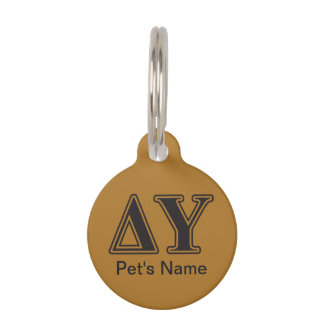 Delta Upsilon Black Letters Pet Name Tag