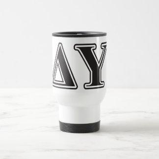 Delta Upsilon Black Letters Travel Mug