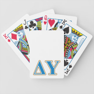 Delta Upsilon Gold and Sapphire Blue Letters Bicycle Playing Cards