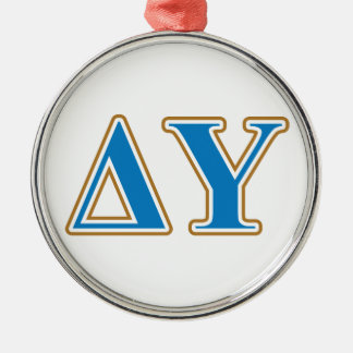 Delta Upsilon Gold and Sapphire Blue Letters Christmas Ornament