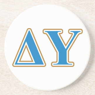 Delta Upsilon Gold and Sapphire Blue Letters Coaster