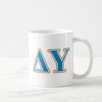 Delta Upsilon Gold and Sapphire Blue Letters Coffee Mug