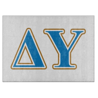 Delta Upsilon Gold and Sapphire Blue Letters Cutting Board