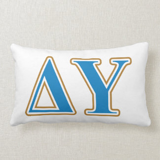 Delta Upsilon Gold and Sapphire Blue Letters Lumbar Cushion